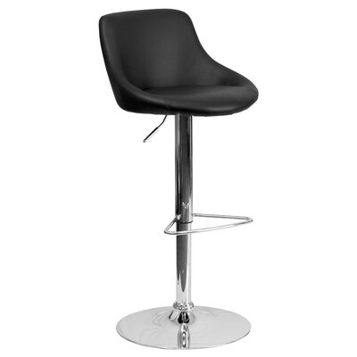 Winnols Adjustable Height Swivel Bar Stool Upholstery: Black