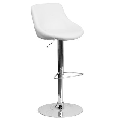 Winnols Adjustable Height Swivel Bar Stool Upholstery: White