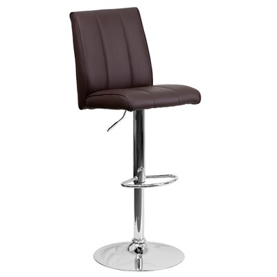 Winnols Adjustable Height Swivel Square Bar Stool (Set of 2) Upholstery: Brown