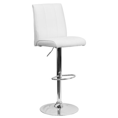 Winnols Adjustable Height Swivel Square Bar Stool (Set of 2) Upholstery: White