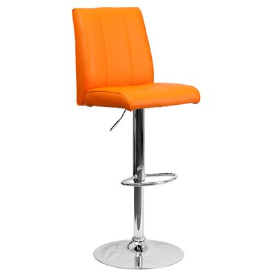 Winnols Adjustable Height Swivel Square Bar Stool (Set of 2) Upholstery: Orange