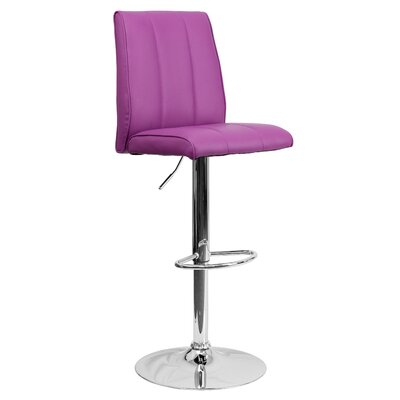 Winnols Adjustable Height Swivel Square Bar Stool (Set of 2) Upholstery: Purple