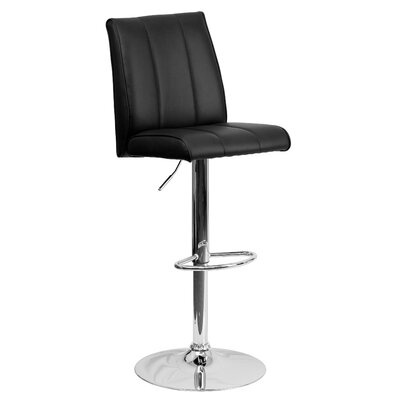 Winnols Adjustable Height Swivel Square Bar Stool (Set of 2) Upholstery: Black