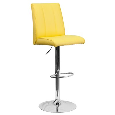 Winnols Adjustable Height Swivel Square Bar Stool (Set of 2) Upholstery: Yellow