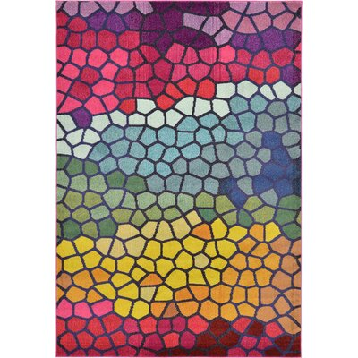 Oldsmar Pink/Yellow Area Rug Rug Size: Rectangle 8 x 11