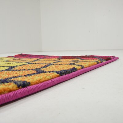 Oldsmar Pink/Yellow Area Rug Rug Size: Runner 22 x 67