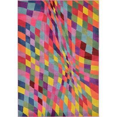 Oldsmar Pink/Green Area Rug Rug Size: 67 x 96