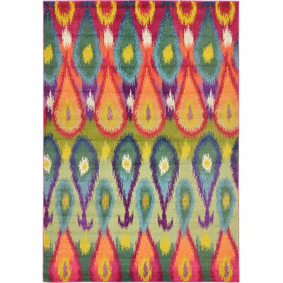Oldsmar Green/Orange Area Rug Rug Size: Rectangle 106 x 165