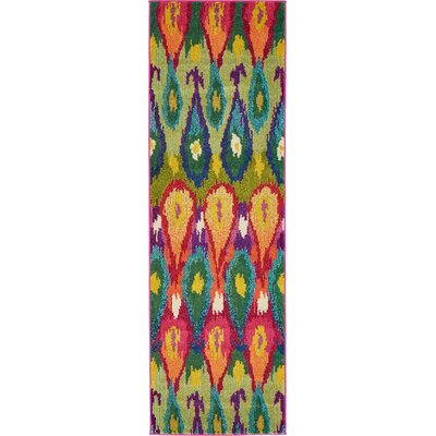 Oldsmar Green/Orange Area Rug Rug Size: Runner 22 x 67