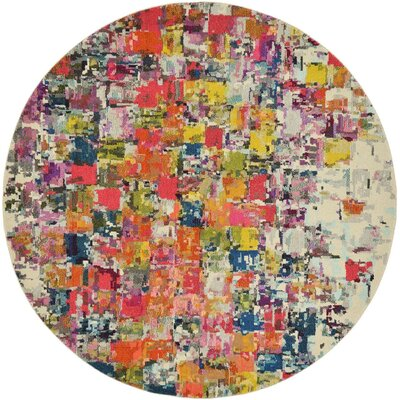 Oldsmar Red/Yellow Area Rug Rug Size: Round 6