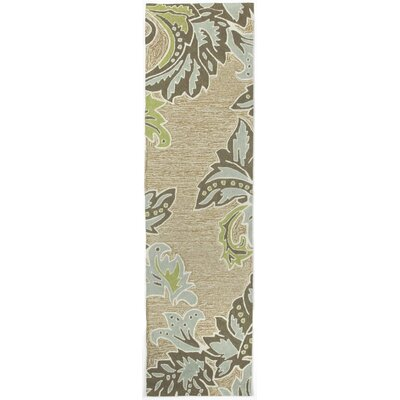 Cosmo Ornametal Leaf Border Aqua Indoor/Outdoor Rug Rug Size: Runner 2 x 8