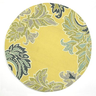 Cosmo Ornamental Leaf Border Yellow Indoor/Outdoor Area Rug Rug Size: Round 8