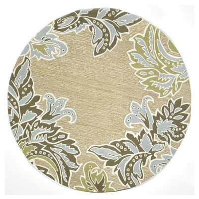 Cosmo Ornametal Leaf Border Aqua Indoor/Outdoor Rug Rug Size: Round 8