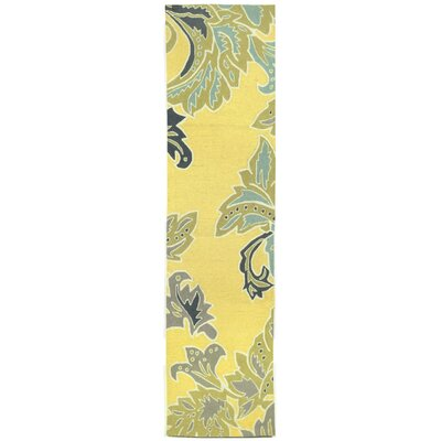 Cosmo Ornamental Leaf Border Yellow Indoor/Outdoor Area Rug Rug Size: Runner 2 x 8