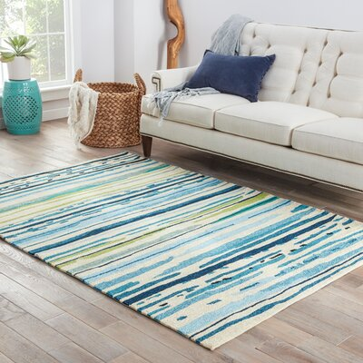 Angelina Hand-Hooked Polypropylene Blue/Green Outdoor Area Rug Rug Size: Rectangle 5 x 76
