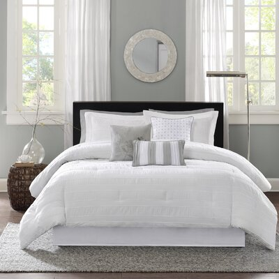 Rochelle Comforter Set Size: California King, Color: White