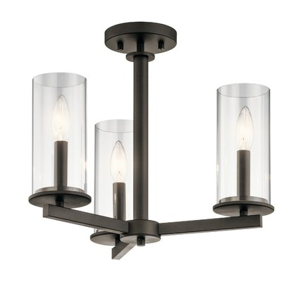 Chelsie 3-Light Semi Flush Mount Finish: Olde Bronze