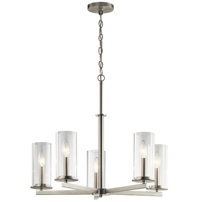 Chelsie 5-Light Shaded Chandelier Finish: Brushed Nickel