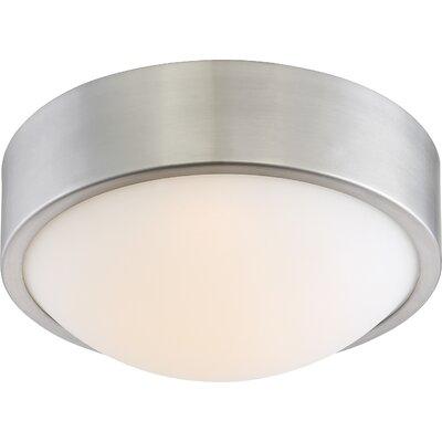 Newport 1-Light LED Flush Mount Size: 4 H x 9 W x 9 D, Finish: Brushed Nickel