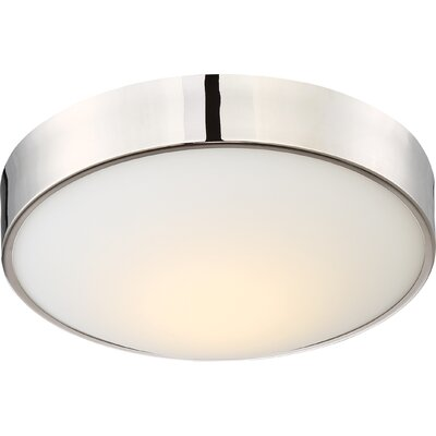 Arboles 1-Light LED Flush Mount Finish: Polished Nickel, Size: 4 H x 13 W x 13 D