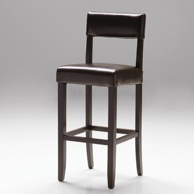 Paige 29 Bar Stool Seat: Brown Bycast Leather