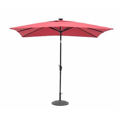 Irene 7 x 9 Next Gen Solar Lighted Rectangular Illuminated Umbrella Color: Scarlet