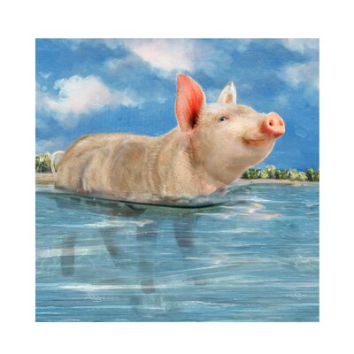 'Pig in Paradise' Painting on Wrapped Canvas