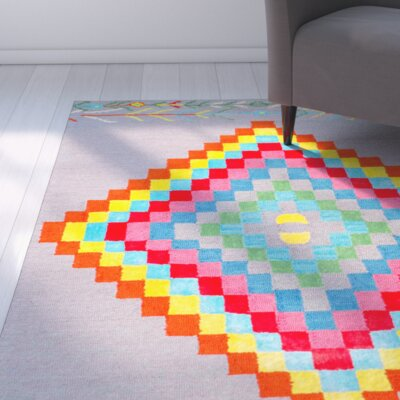 Hand-Tufted Gray/Red/Yellow Area Rug Rug Size: 5 x 8