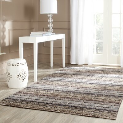 Keith Grey Stripes Area Rug Rug Size: Rectangle 4' x 6'