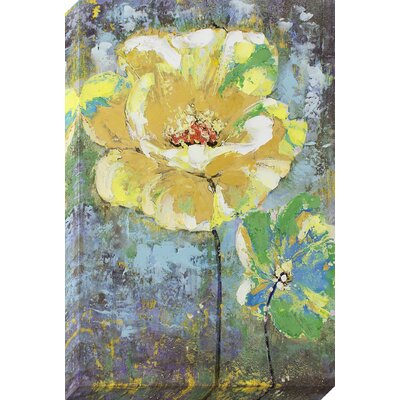 Yellow Painted Flower Painting on Wrapped Canvas