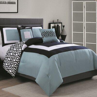 Reina 6 Piece Comforter Set Size: Full / Queen, Color: Navy / Slate