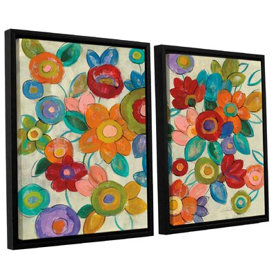 'Decorative Flowers' by Silvia Vassileva 2 Piece Framed Painting Print Set