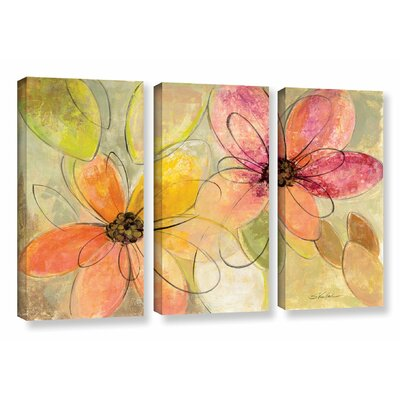 'Neon Floral' by Silvia Vassileva 3 Piece Painting on Canvas Set Size: 24