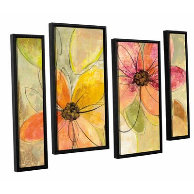 'Neon Flora' by Silvia Vassileval 4 Piece Framed Painting Print Set Size: 24