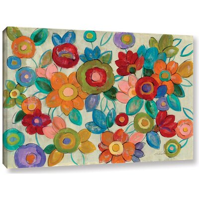 'Decorative Flowers' by Silvia Vassileva Painting Print on Wrapped Canvas