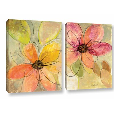 'Neon Floral' by Silvia Vassileva 2 Piece Painting Print on Canvas Set Size: 18