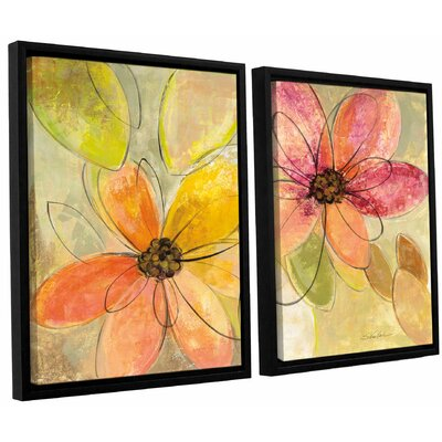 'Neon Floral' by Silvia Vassileva 2 Piece Framed Painting Print Set Size: 24