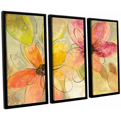 'Neon Floral' by Silvia Vassileva 3 Piece Framed Painting Print Set Size: 24