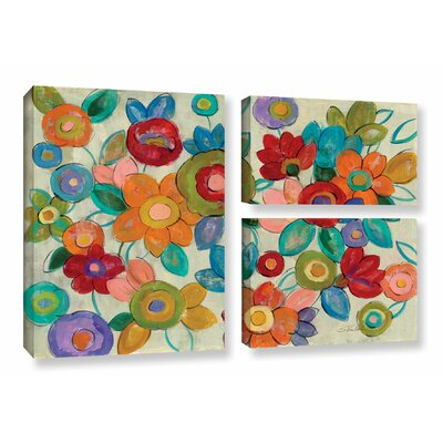 'Decorative Flowers' by Silvia Vassileva 3 Piece Painting Print on Canvas Set