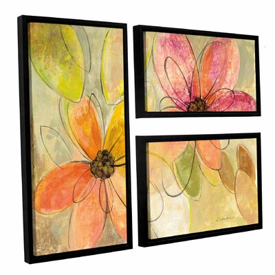 'Neon Floral' by Silvia Vassileva 3 Piece Framed Painting Print Set