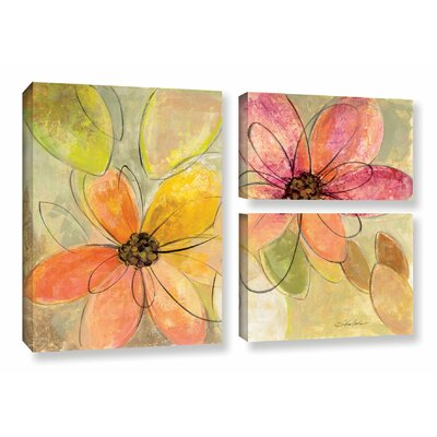 'Neon Floral' by Silvia Vassileva 3 Piece Painting Print on Canvas Set