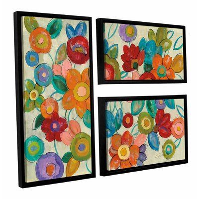 'Decorative Flowers' by Silvia Vassileva 3 Piece Framed Painting Print Set