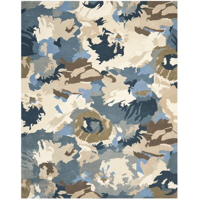 Whirwind Hand-Loomed Beige/Blue Area Rug Rug Size: Rectangle 5 x 8