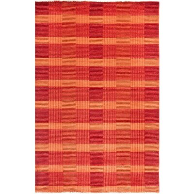 Apple Creek Hand-Knotted Red Area Rug Rug Size: 5 x 8