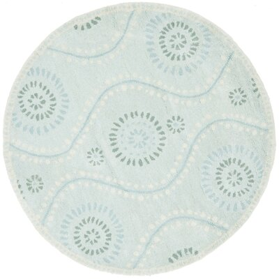 Ogee Hand-Loomed Blue Area Rug Rug Size: Round 8