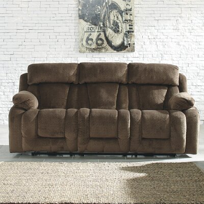 Georgina Reclining Sofa Type: Power, Upholstery: Chocolate