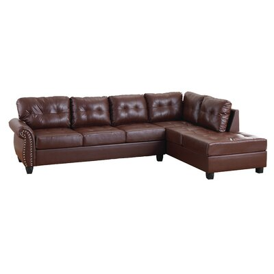 Lundia Reversible Chaise Sectional Upholstery: Brown