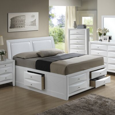 Medford Storage Upholstered Platform Bed Size: King, Color: White