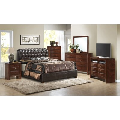 Leonis Upholstered Panel Bed Size: Queen, Finish: Cherry