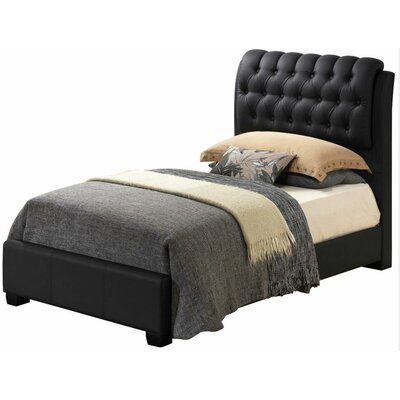 Medford Upholstered Panel Bed Size: Twin, Color: Black